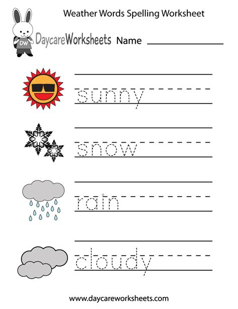 Free Preschool Weather Words Spelling Worksheet | Weather ...