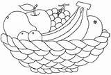 Coloring Fruit Basket sketch template