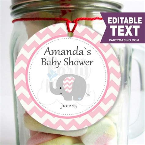 Choose a free printable baby shower thank you tag below. Printable Elephant Tags | Baby Shower Stickers | Girl ...