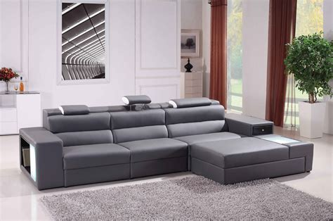 Polaris Mini Contemporary Grey Bonded Leather Sectional