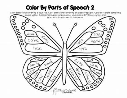 Coloring Butterfly Speech Parts Grade 5th Pages
