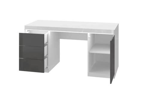 bureau moneta bureau loic ii leds 1 porte 3 tiroirs blanc gris