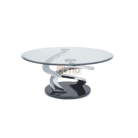 objet deco cuisine design table basse design ronde verre et acier pied sculpté tornade