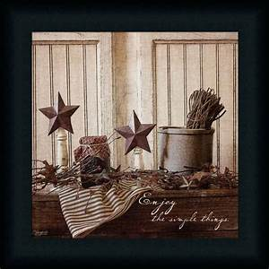 Enjoy the simple things primitive tin star sign framed art