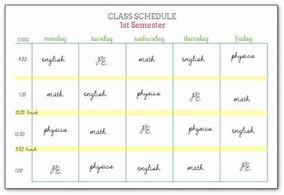 Schedule Class Printable Example Student Schedules Girlish