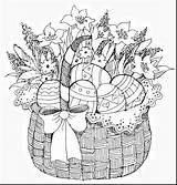 Easter Coloring Basket Pages Adult Adults Colouring Printable Spring Eggs Pb Sheets Kolorowanki Kleurplaten Icolor Flower Kleuren Bunny Template Drawings sketch template