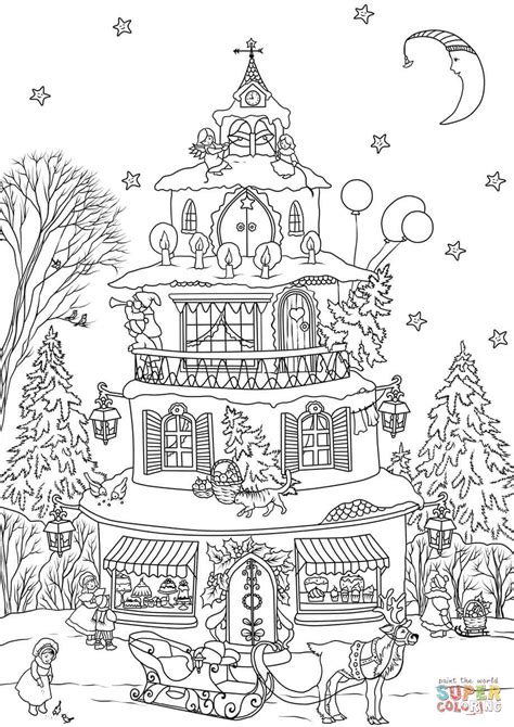 Christmas House coloring page | Free Printable Coloring Pages