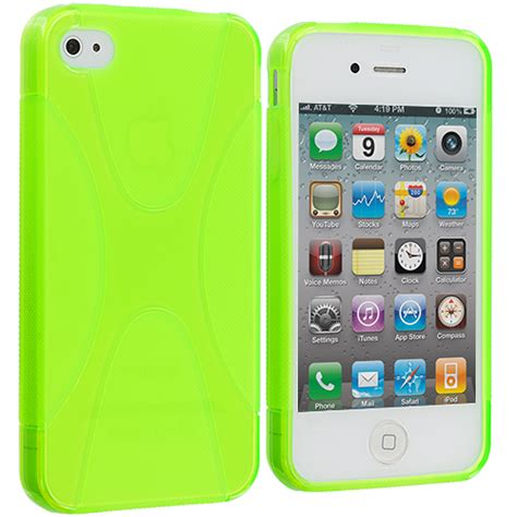 Rubber Iphone 4 Iphone 4s neon green x line tpu rubber skin cover accessory for