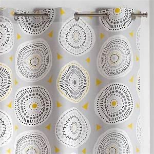 Rideau Jaune Et Gris : rideau tamisant 140 x 240 cm disco gris et jaune rideau tamisant eminza ~ Teatrodelosmanantiales.com Idées de Décoration