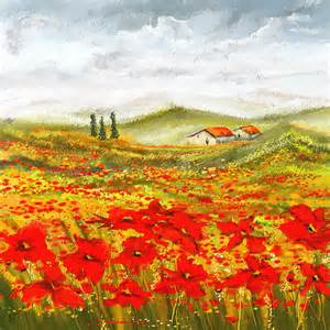 Poppy Curtain by Field Of Dreams Poppy Field Paintings Painting By Lourry