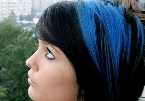 blue black hair tips  styles dark blue hair dye styles