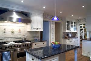 Blue Pearl Granite Kitchen Countertops with White Cabinets