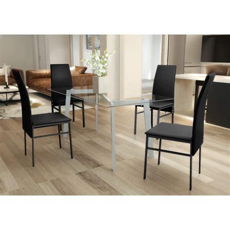 table 4 chaises pas cher lot de 1 table verre 4 chaises noires pas cher