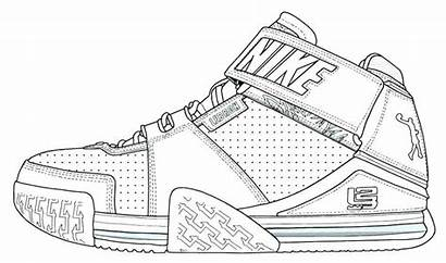 Coloring Nike Shoes Pages Printable Drawing Lebron