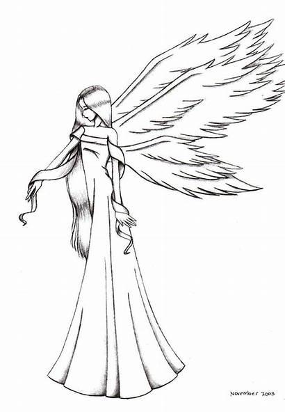 Angel Line Angels Drawing Sorrowful Anime Drawings