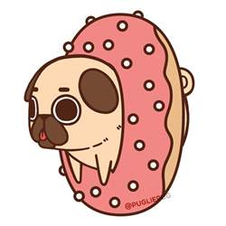 Donut Cute Pug Drawing