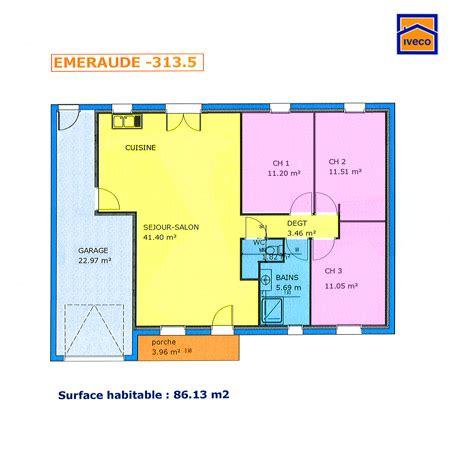 plan maison plain pied 3 chambres avec garage plan de maison individuelle plain pied