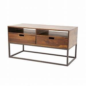meuble tv bois et fer forge solutions pour la decoration With meuble bois fer forge