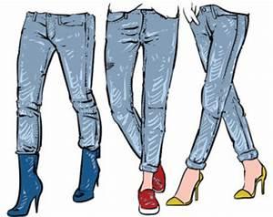 Hand drawn women's fashionable denim jeans. clipart ...