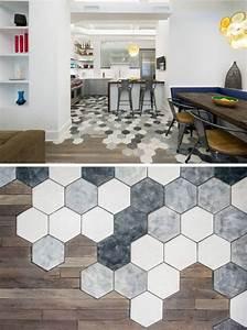 Fussboden Wohnzimmer Ideen : fu boden idee mit dekorativen hexagon fliesen ~ Lizthompson.info Haus und Dekorationen