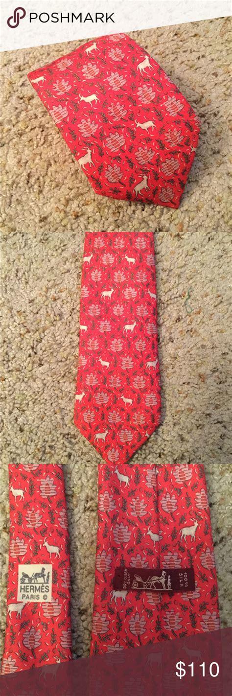 sold hermes deer red silk neck tie  ta red silk