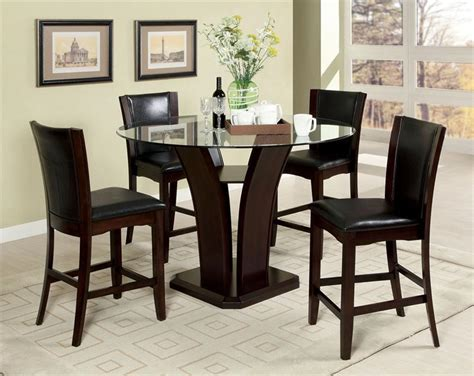 manhattan  glass counter height dining table set