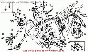 Honda Cb125s 1976 Usa Wire Harness    Ignition Coil    Horn