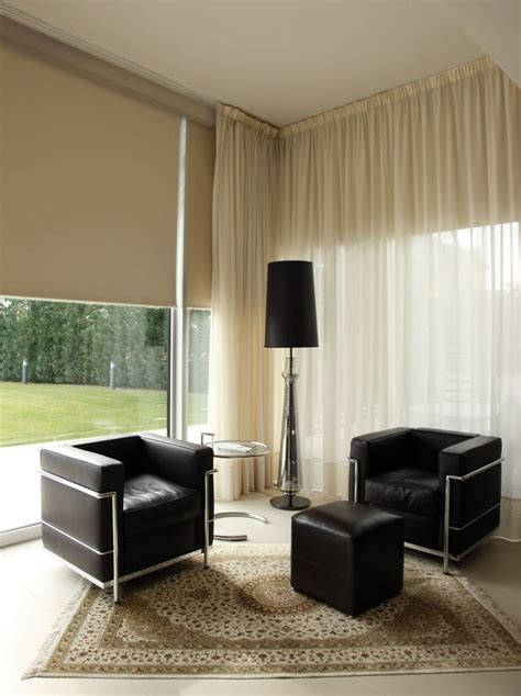 contemporary room  motorized shades  ceiling