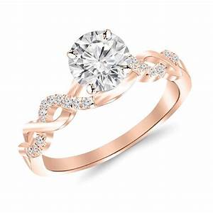 05 carat twisting infinity gold and diamond split shank With split shank wedding ring sets
