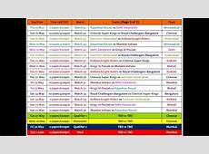 IPL7, 2014 Full Schedule and Time Table Updated YouTube