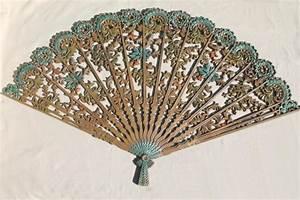 Vintage burwood gold plastic fan wall art plaque retro