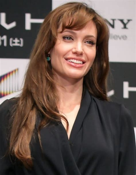 Angelina Jolie Long Hairstyle: Curly Bangs   Pretty Designs