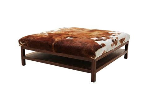 walnut coffee table with cowhide