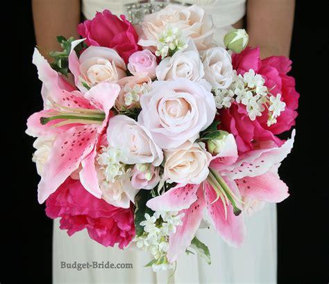mixed pink wedding flower bouquet  stargazer lilies