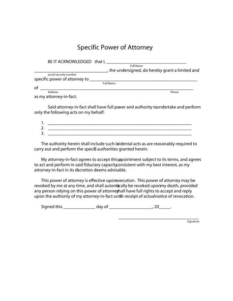 50 free power of attorney forms templates durable general