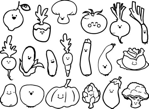 cute vegetable coloring page wecoloringpagecom