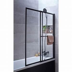 pare baignoire 2 volets pivotant coulissant 140 x 123cm With porte de douche coulissante avec spot orientable salle de bain