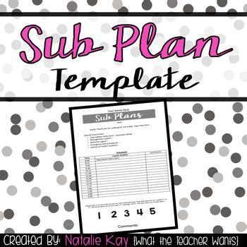 sub plans template editable sub plan template by natalie teachers pay teachers