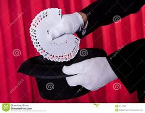 Magician Hand Holding Fanned Deck Of Cards Stock ...