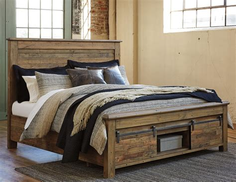 barn door bedroom set king panel storage bed with barn doors by signature design 4318