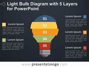 Light Bulb Diagram With 5 Layers For Powerpoint