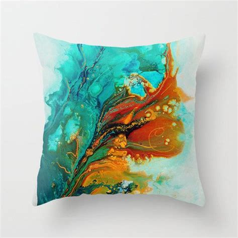 Turquoise Toss Pillows by Abstract Pillow Cover Turquoise Teal Orange Lumbar Pillow