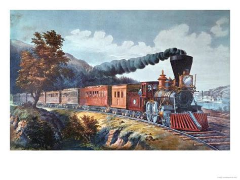american express train  giclee print  currier