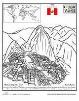 Machu Picchu Geography Colouring Spanish Pichu Incas Inca Araceli Suid Coloriages Entier Nazca Divyajanani Stroom Akademie Andes Macchu sketch template