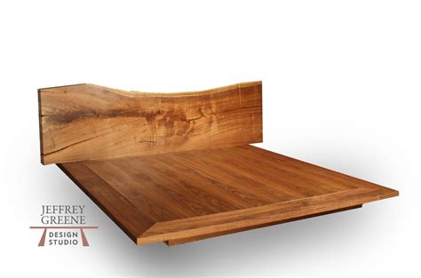 wood bed frame king live edge wood slab platform bed king size jeffrey greene