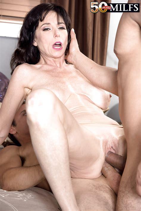 Busty Brunette Milf Karen Kougar Taking Double Penetration