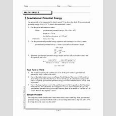Gravitational Potential Energy 9th  12th Grade Worksheet  Lesson Planet