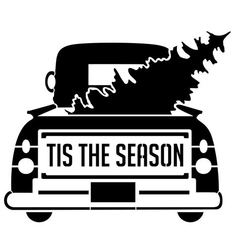 designer stencils tis  season vintage truck  tree