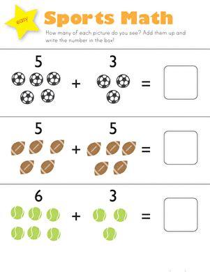 sports math worksheet education 901 | sports math addition kindergarten