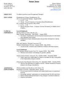 resume for occupational therapist